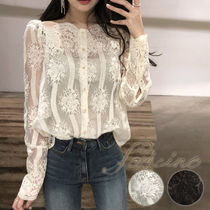 Flower Patterns Boat Neck Long Sleeves Medium Lace