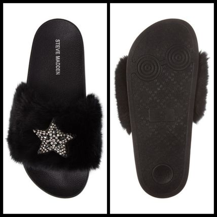 Steve Madden Star Open Toe Rubber Sole Casual Style Faux Fur Studded