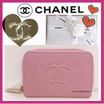 CHANEL ICON Plain Leather Coin Purses