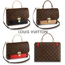 Louis Vuitton MARIGNAN Monogram 2WAY Leather Elegant Style Handbags