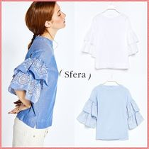 Sfera Casual Style U-Neck Cotton Puff Sleeves Shirts & Blouses