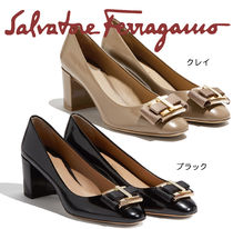 Salvatore Ferragamo Plain Office Style Kitten Heel Pumps & Mules