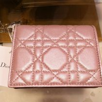 Christian Dior LADY DIOR Leather Small Wallet Folding Wallets