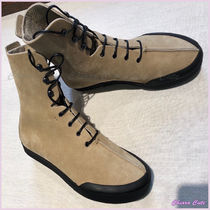 LOEWE Round Toe Rubber Sole Casual Style Suede Plain
