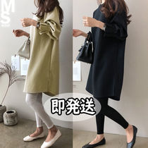 U-Neck Long Sleeves Plain Cotton Medium Midi Elegant Style