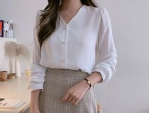 Long Sleeves Plain Medium With Jewels Office Style