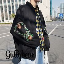 Flower Patterns Unisex Oversized Bomber Jackets