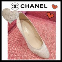 CHANEL ICON Leather Pin Heels Elegant Style Stiletto Pumps & Mules