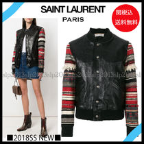 Saint Laurent Short Blended Fabrics Plain Leather Fringes Varsity Jackets