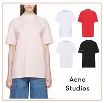 Acne Casual Style Plain Medium Short Sleeves Logos on the Sleeves