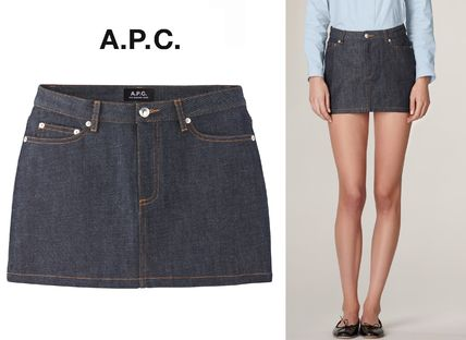 Short Casual Style Denim Plain Skirts