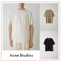 Acne Crew Neck Plain Short Sleeves Logos on the Sleeves