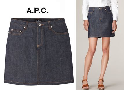 Casual Style Denim Plain Skirts