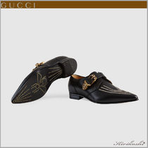 GUCCI Plain Toe Monk Leather Loafers & Slip-ons