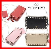 VALENTINO Street Style Leather Shoulder Bags