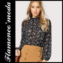 Short Flower Patterns Long Sleeves Elegant Style Cropped