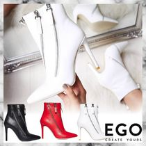 EGO Faux Fur Plain Pin Heels Ankle & Booties Boots