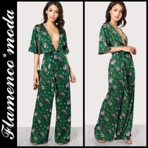 Dungarees Flower Patterns Casual Style V-Neck Long
