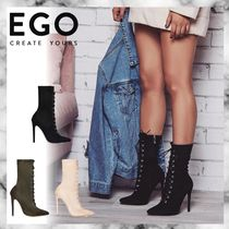 EGO Lace-up Suede Plain Pin Heels Lace-up Boots