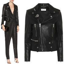 Saint Laurent 18SS WSL 1198 GRAINED LEATHER MOTORCYCLE JACKET WITH BADGE