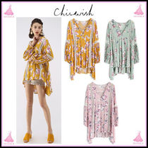 Chicwish Flower Patterns V-Neck Cotton Medium Puff Sleeves Tunics