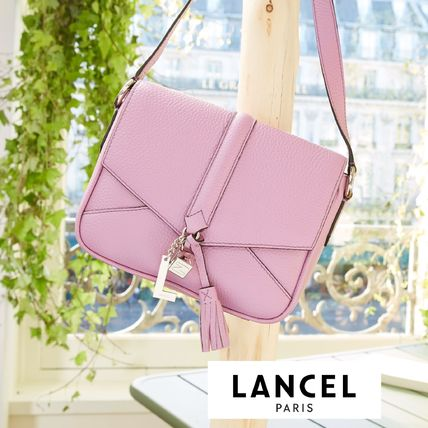 Plain Leather With Jewels Elegant Style Shoulder Bags