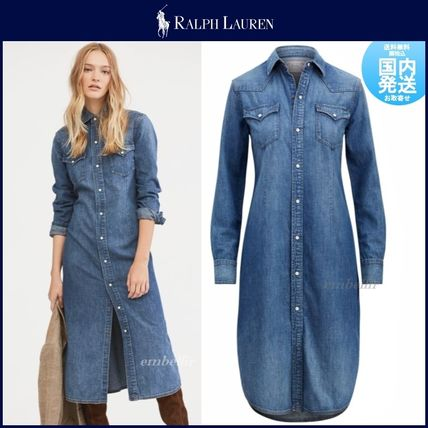 2018 Shirt Polo Style Denim Long Elegant Plain Ralph Sleeves 19aw Lauren Dresses kuOPiZXT