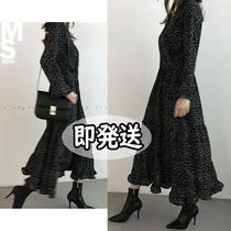 NANING9 Wrap Dresses Dots V-Neck Long Sleeves Long Elegant Style