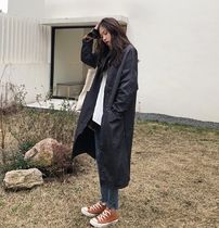 Casual Style Street Style Plain Long Oversized Parkas