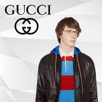 GUCCI Short Stripes Blended Fabrics Street Style Plain Leather