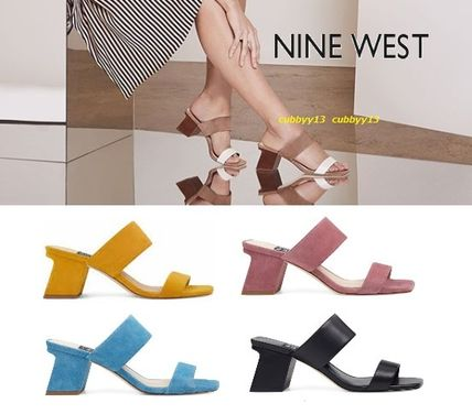 Square Toe Casual Style Plain Leather Heeled Sandals