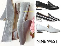 Nine West Square Toe Casual Style Street Style Plain Leather