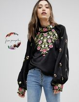 Free People Flower Patterns Casual Style Puff Sleeves Shirts & Blouses