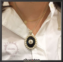 CHANEL ICON Costume Jewelry Blended Fabrics Chain Elegant Style