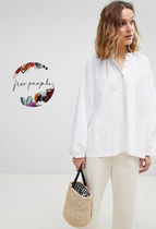 Free People Casual Style Long Sleeves Plain Cotton Shirts & Blouses