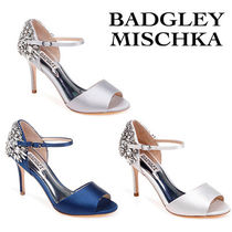 Badgley Mischka Open Toe Party Style With Jewels Peep Toe Pumps & Mules