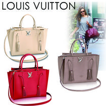 Louis Vuitton Casual Style Tassel A4 2WAY Plain Leather Shoulder Bags