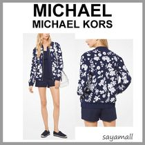 Michael Kors Short Flower Patterns MA-1 With Jewels Bomber Jackets