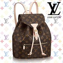 Louis Vuitton MONOGRAM Monoglam A4 Leather Backpacks