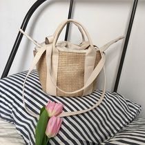 Street Style 2WAY Plain Crossbody Color Liner Straw Bags