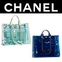 CHANEL ICON Casual Style Blended Fabrics Street Style Bag in Bag A4