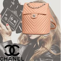 CHANEL Calfskin Plain Elegant Style Backpacks