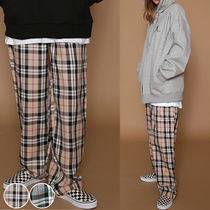 Gingham Casual Style Unisex Long Pants