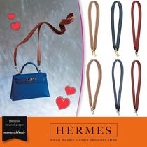 HERMES Other Check Patterns Blended Fabrics Leather Elegant Style
