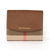 Burberry Other Check Patterns Calfskin Folding Wallets