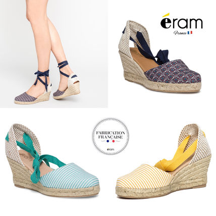 Stripes Open Toe Casual Style Platform & Wedge Sandals