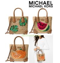 "Michael Kors  [Michael Kors] ""Malibu"" Medium Straw Crossbody"