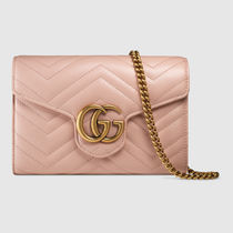 GUCCI GG Marmont Chain Plain Leather Shoulder Bags