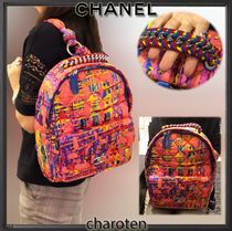 CHANEL ICON Other Check Patterns Casual Style Blended Fabrics 2WAY