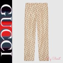 GUCCI Monogram Silk Street Style Cropped Pants